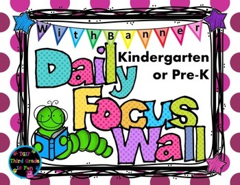 Daily Focus Headers/Banners for Kindergarten or Pre-K Purple Polka Dots