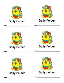 Daily Folder Labels for Classroom Organization Classroom Management