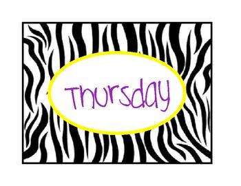 Daily Folders - zebra themed