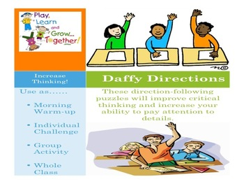 Daily Following Direction Activities: Daffy Directions Activity Pack # 4