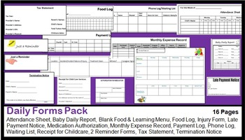 Daily Forms Pack (Baby Report, Blank Menu Plan, Tax Statement, Pay Log & More)