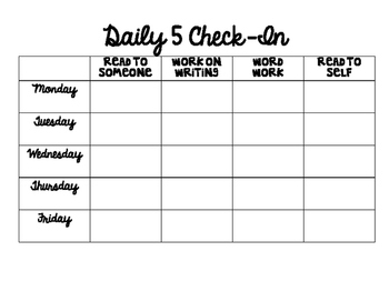 Daily Five Weekly Check-In