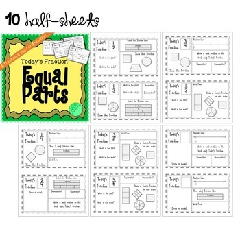 Fractions Math Bundle - Equal Parts, Equivalent, and Comparing Fractions