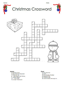 Daily Freebie- Christmas Crossword Activity