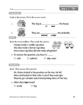 Daily Fundamentals Cross-Curricular Bundle, Grade 1, Weeks 13–18