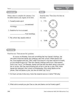 Daily Fundamentals Cross-Curricular Bundle, Grade 3, Weeks 19–24