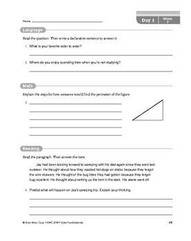 Daily Fundamentals Cross-Curricular Bundle, Grade 4, Weeks 7–12