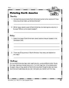 Daily Geography Practice, Grade 5, Weeks 7-12 | TpT