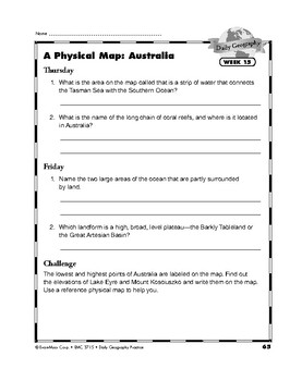 Daily Geography Practice, Grade 6, Weeks 13–18