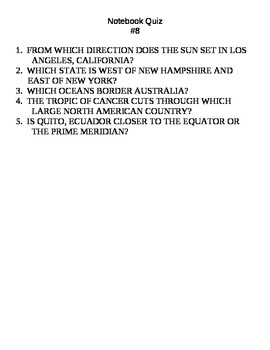 Daily Geography Questions (Warm Up) and Quizzes