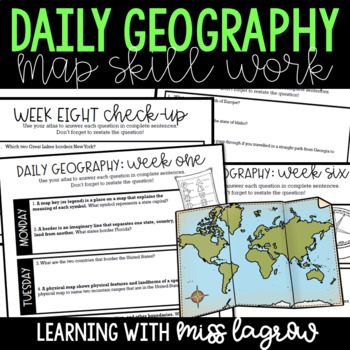 Daily Geography or Social Studies Map Skills GROWING BUNDLE