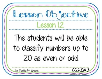Daily Go Math Lesson Objective Posters For The Entire School Year