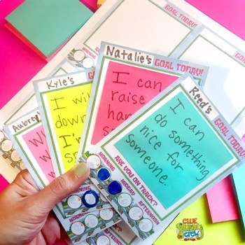Daily Goal Setting Cards with Self-Assessment