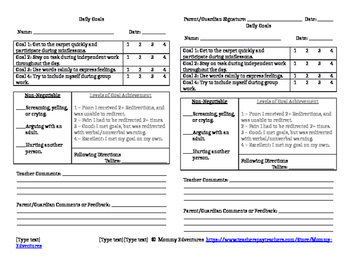 daily goal sheet by mommy edventures teachers pay teachers