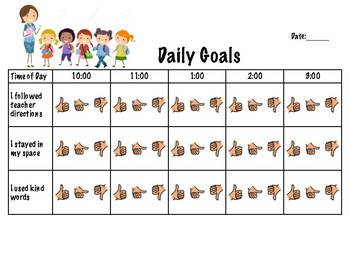 Daily Goals/Chart for Student - Following Directions