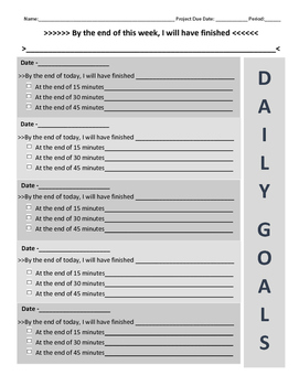 Daily Goals Tracking Sheet