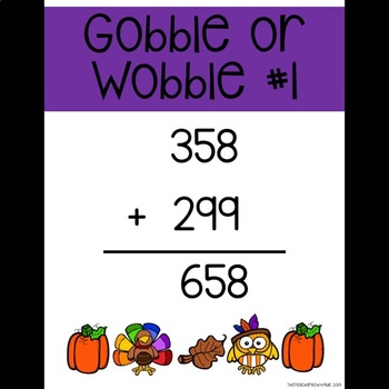 Daily Gobble or Wobble Addition and Subtraction with Regrouping