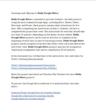 Daily Google Drive: Week 1 Morning Announcement