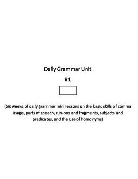 Daily Grammar Mini Lessons