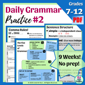 Daily Grammar Practice #2 Bellringers for Middle School
