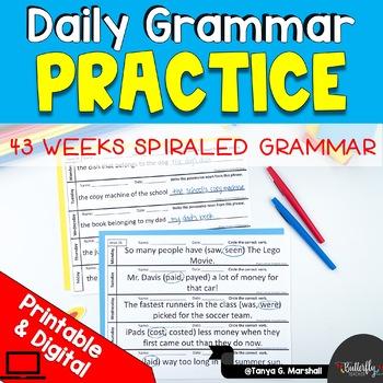 Daily Grammar Practice | Editable Grammar Worksheets-Full Year Spiraled Grammar
