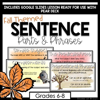 Daily Grammar Practice Fall Themed Sentence Parts Phrases For