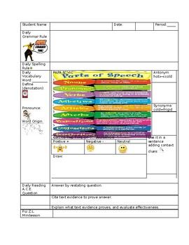 Daily Grammar, Spelling, Vocabulary, Reading, Writing Assignment Worksheet