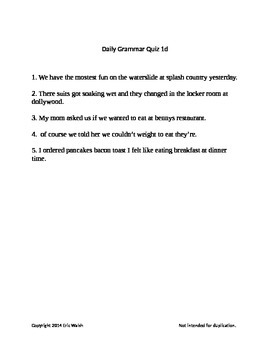 Daily Grammar & Writing Lessons With Quizzes Volume 4 2nd, 3rd, 4th & 5th Grade