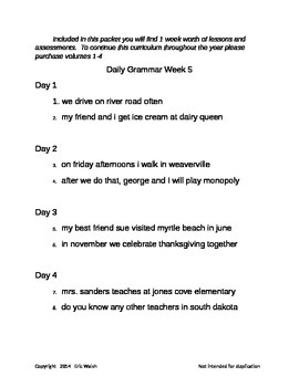 Sample: Daily Grammar & Writing Lessons With Quizzes 2nd, 3rd, 4th, & 5th Grade