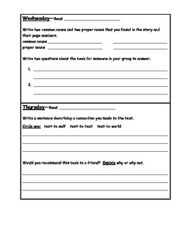 Daily Guided Reading Homework
