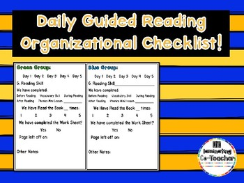Daily Guided Reading Organizational Checklist