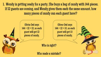 Daily Word Problems Multiplication and Division Halloween theme *Slide Show*