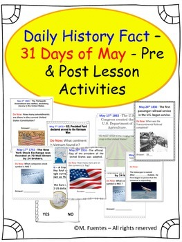 Daily History and Social Studies Facts for MAY - Pre and Post lesson activities