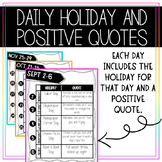 Daily Holiday and Positive Quote Calendar Board