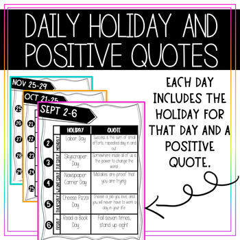 Daily Holiday And Positive Quote Calendar Board By Math And Glitter