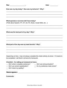 Daily Home Communication Log - writing sentences.