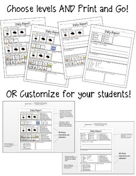 Editable Daily Home Communication Sheets for Special Education Students