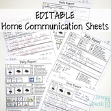 Editable Daily Home Communication Sheets for Special Educa