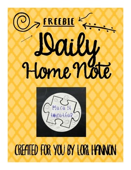 Daily Home Note - SPED / Early Childhood / Preschool