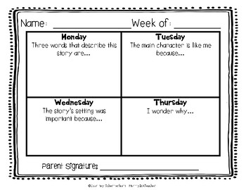 Daily Reading Logs for Fiction - 36 Weeks {Grades 2-3}