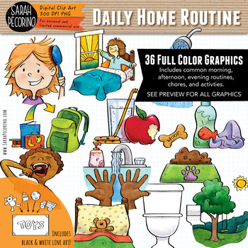 Daily Home Routine Clip Art