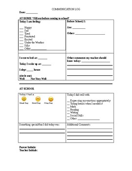 Daily Home/School Communication Form