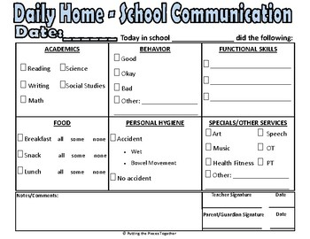 picture about Daily Sheet identified as Everyday Household-University Interaction Sheet