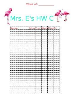 Daily Homework Check List Pink Flamingos