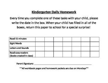 Daily Homework Checklist