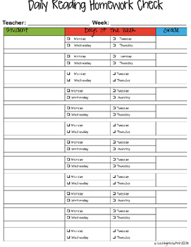 Daily Homework Checklist FREEBIE