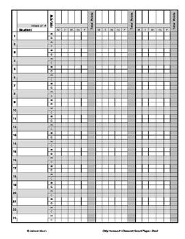 Daily Homework / Classwork Gradebook - Blank Dates