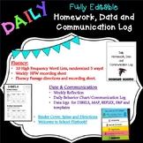 Daily Homework, Data and Communication Binder & Flipbook EDITABLE!!!