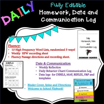Daily Homework, Data and Communication Binder & Flipbook EDITABLE!!! SAMPLE