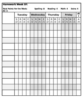 Daily Homework Tracking Sheet